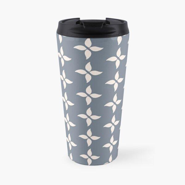 Cottagecore Blue Grey and White Abstract Flower Travel Mug