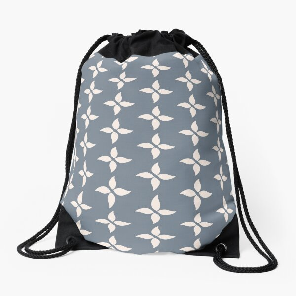 Cottagecore Blue Grey and White Abstract Flower Drawstring Bag
