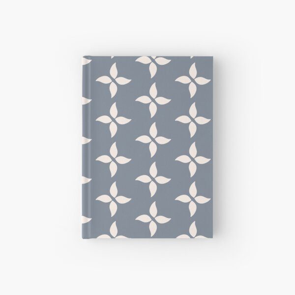Cottagecore Blue Grey and White Abstract Flower Hardcover Journal