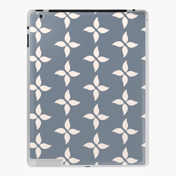 Cottagecore Blue Grey and White Abstract Flower iPad Skin