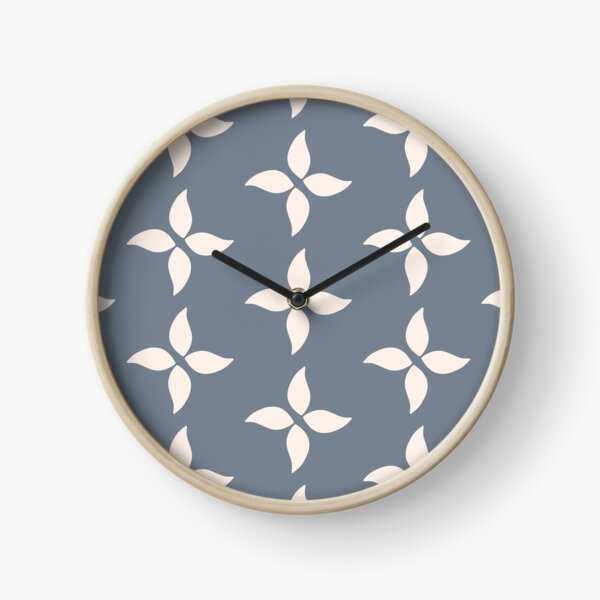 Cottagecore Blue Grey and White Abstract Flower Clock