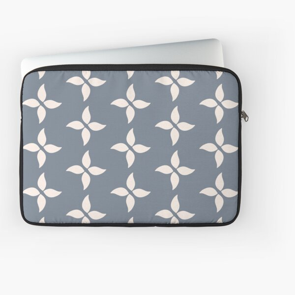 Cottagecore Blue Grey and White Abstract Flower Laptop Sleeve