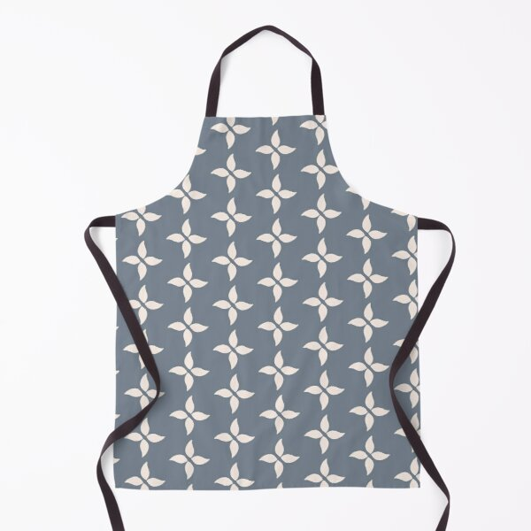 Cottagecore Blue Grey and White Abstract Flower Apron