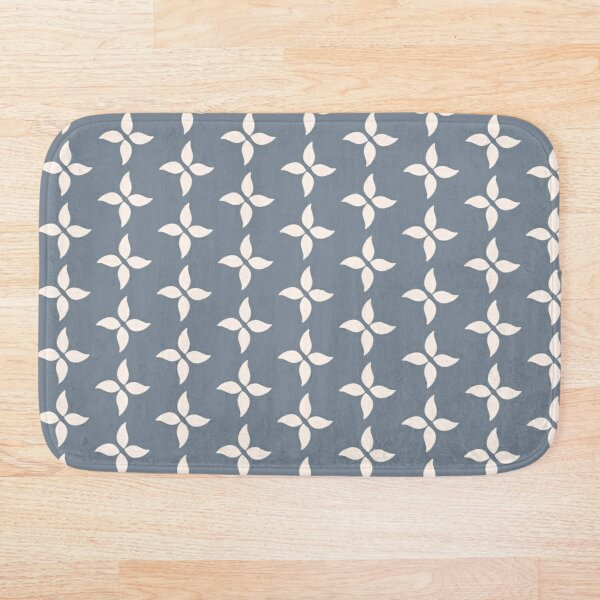 Cottagecore Blue Grey and White Abstract Flower Bath Mat
