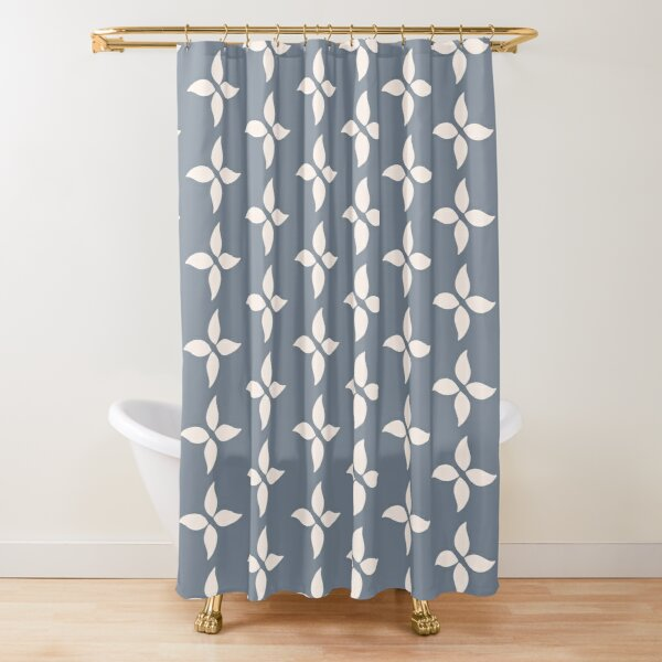 Cottagecore Blue Grey and White Abstract Flower Shower Curtain