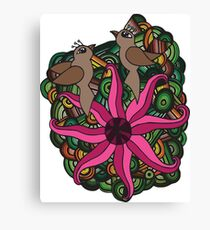 Two birds with exotic flower Canvas Print