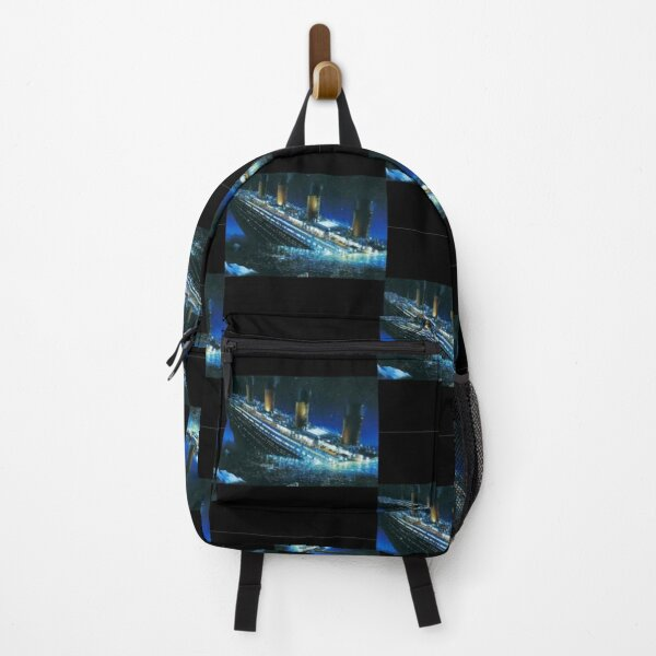 Ship sinking in the icy sea. Backpack