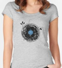 Enchanting Vinyl Record Grunge Vintage Women's Fitted Scoop T-Shirt