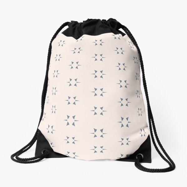 Cottagecore Neutral Grey Star Drawstring Bag