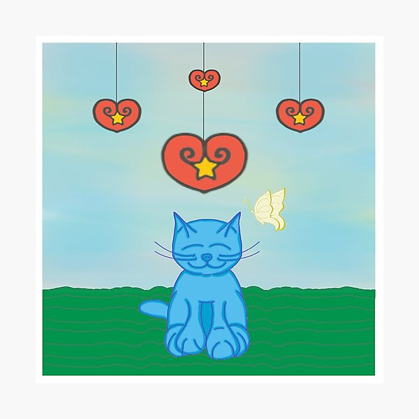 ❤️ Milo Blue Cat Star In My Heart Cartoon Photographic Print