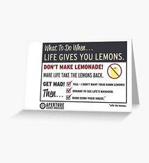 Lemons, portal 2 Greeting Card