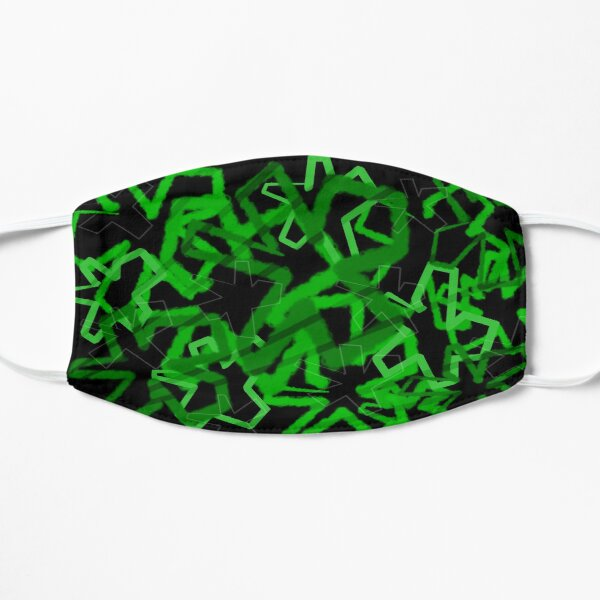 Funky Green Graffiti Flowers Flat Mask