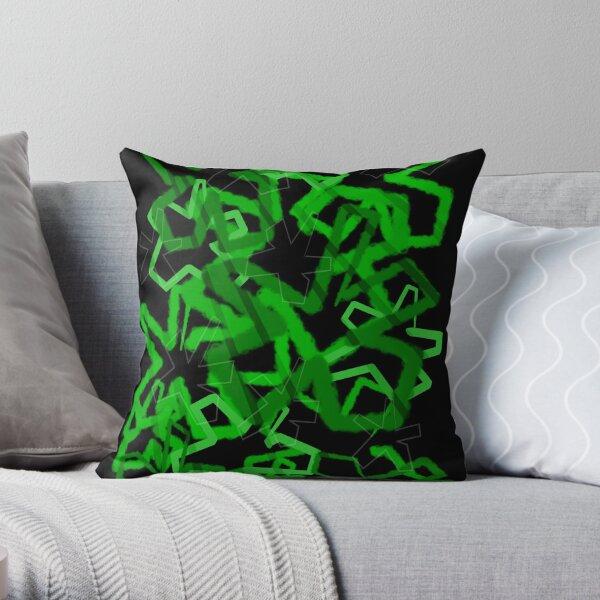 Funky Green Graffiti Flowers Throw Pillow