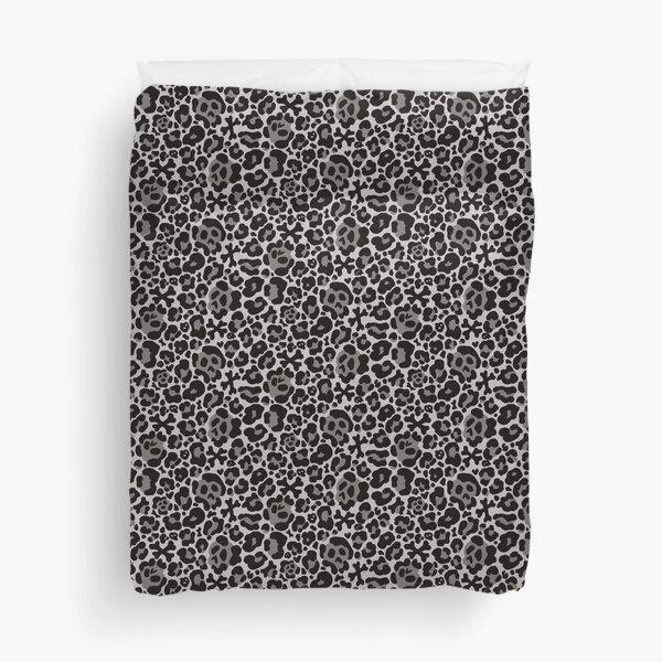 Skull Leopard Print - Grey Duvet Cover