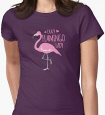 Crazy Flamingo lady Women's Fitted T-Shirt