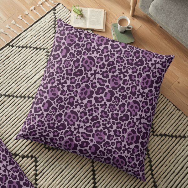 Skull Leopard Print - Purple Floor Pillow