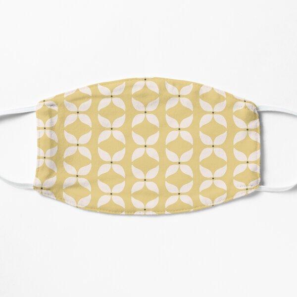 Cottagecore Yellow and White Geometric Flower Pattern Flat Mask