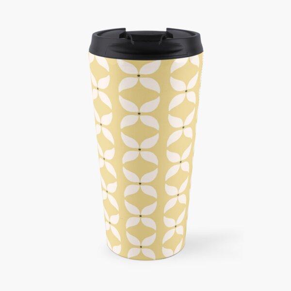 Cottagecore Yellow and White Geometric Flower Pattern Travel Mug