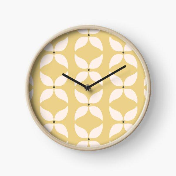 Cottagecore Yellow and White Geometric Flower Pattern Clock