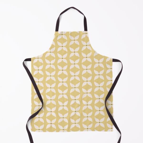 Cottagecore Yellow and White Geometric Flower Pattern Apron