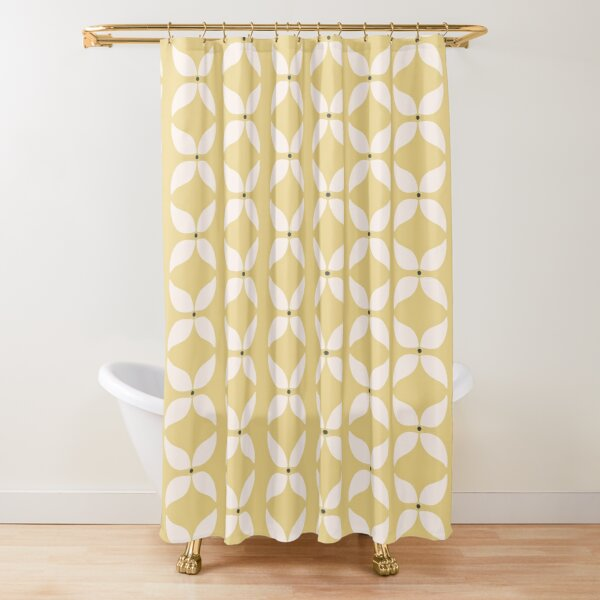 Cottagecore Yellow and White Geometric Flower Pattern Shower Curtain