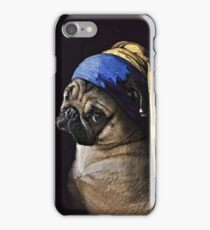 PUG WITH PEARL EARRING iPhone Case/Skin