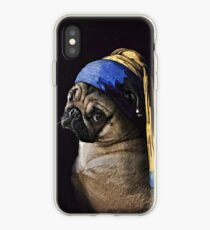 PUG WITH PEARL EARRING iPhone Case