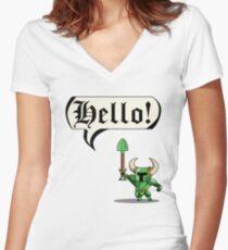 Camiseta entallada de cuello en V ¡HOLA!