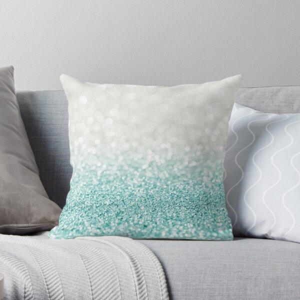Light Blue Ombre Glitter Throw Pillow