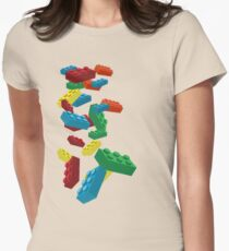 Falling Legos Womens Fitted T-Shirt