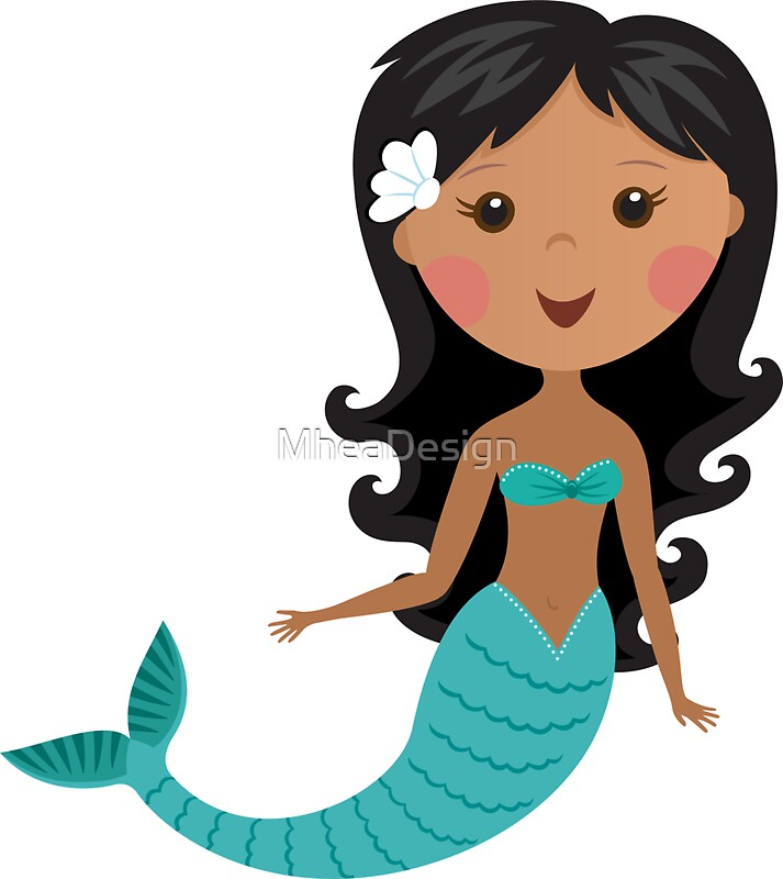 Quot Cute African American Cartoon Mermaid Stickers Quot Stickers