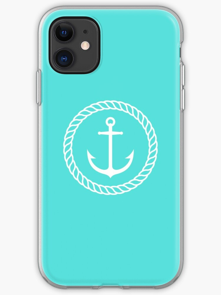 Elegant Nautical Anchor Inside Rope Border On Aqua Blue Background Iphone Case Cover By Mhea Redbubble