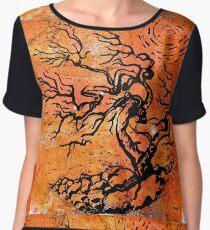 Old and Ancient Tree - Orange Tones  Women's Chiffon Top
