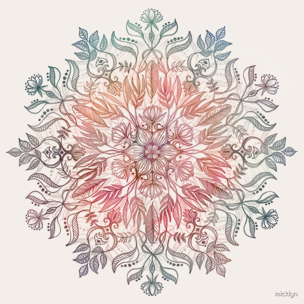 Quot autumn spice mandala in coral cream and rose quot by micklyn redbubble