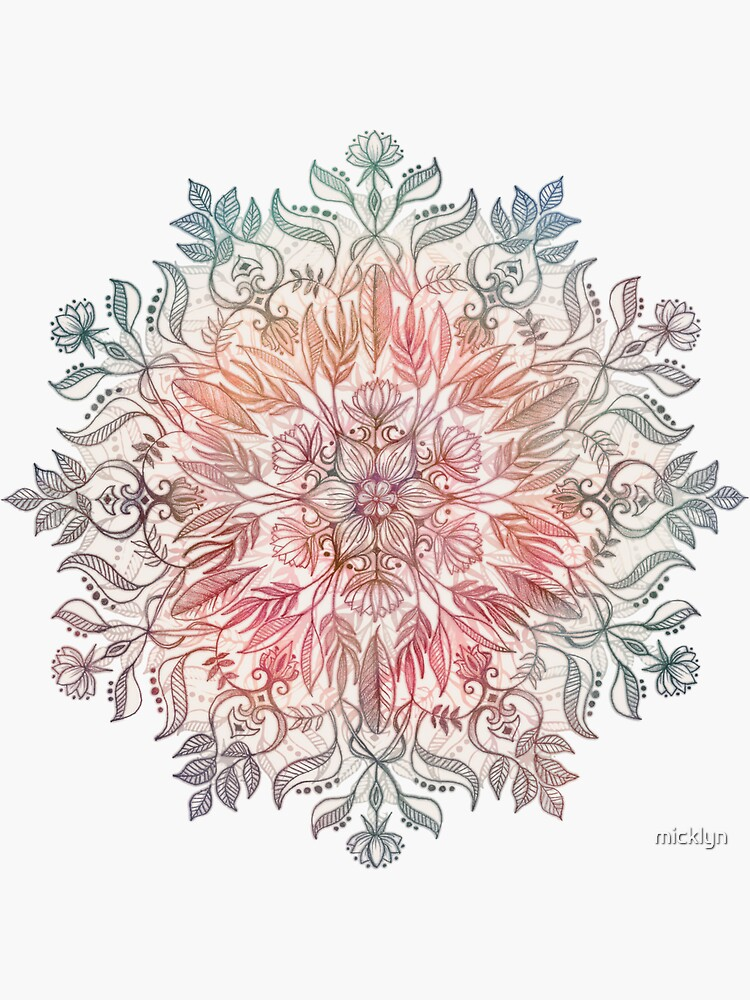 Autumn Spice Mandala in Coral, Cream and Rose by micklyn