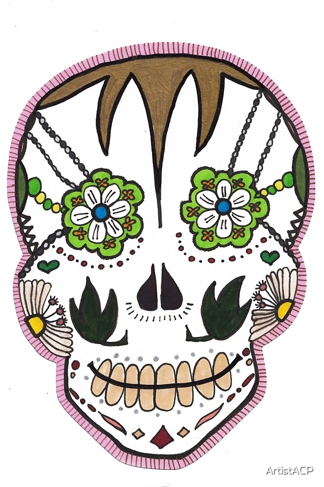 "Sugar Skull ""Pink Frame"" by ArtistACP"