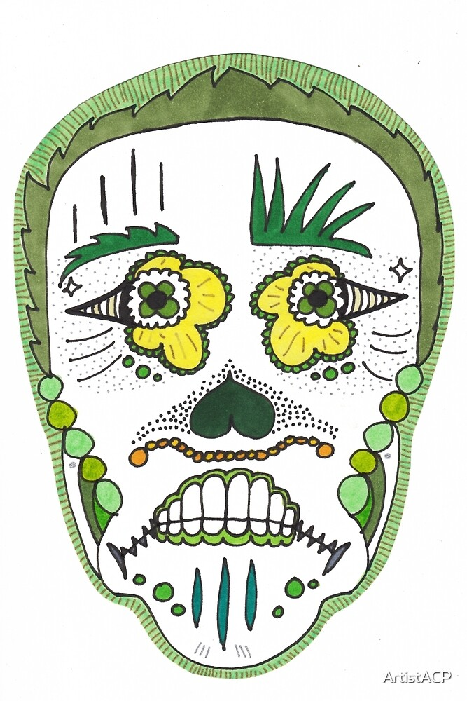 "Sugar Skull ""Green Frame"" by ArtistACP"