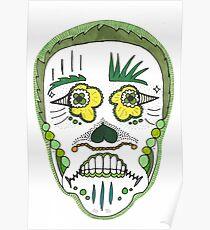 "Sugar Skull ""Green Frame"" Poster"
