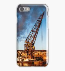 An old crane in the port of Trieste iPhone Case/Skin