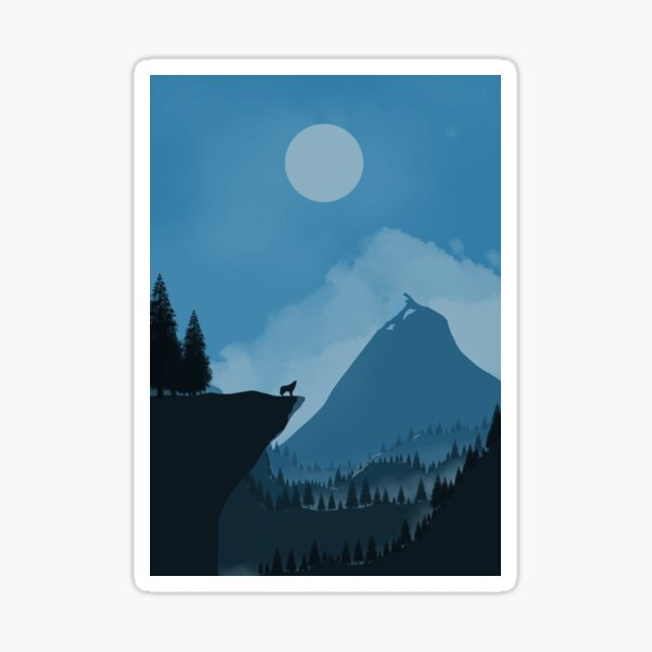 Mountains with Fox night  Sticker