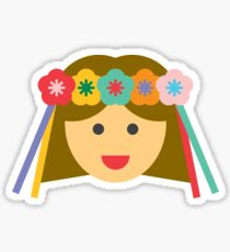 a girl with a flower crown Sticker