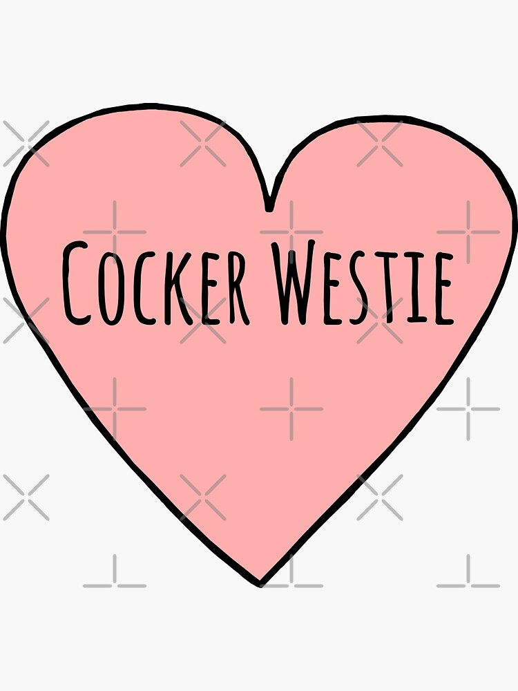 I Love Cocker Westies Sassy Pink Heart Shape Sketch Cute Cocker Westie Mixed Breed Dog Mom Gift by sunnystore