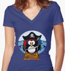 Pirate Penguin at Sea Women's Fitted V-Neck T-Shirt