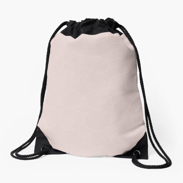 Cottagecore Pink and White Circle Pattern Drawstring Bag