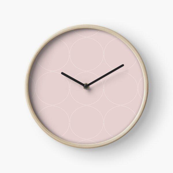 Cottagecore Pink and White Circle Pattern Clock
