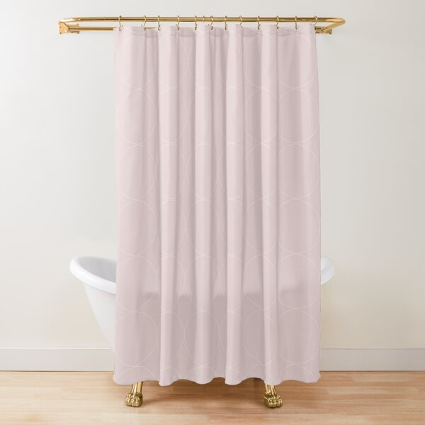 Cottagecore Pink and White Circle Pattern Shower Curtain