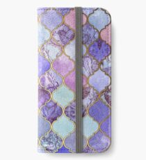 Vinilo o funda para iPhone Patrón decorativo de azulejos marroquíes de Royal Purple, Mauve & Indigo