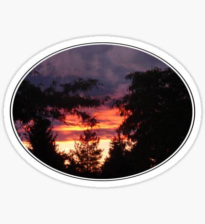 The sun was setting under the rain Sticker