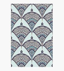 Deco Doodle in Aqua, Cream & Navy Blue Photographic Print