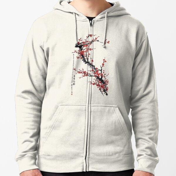 Cherry Blossom Japanese Woodblock Print OHanami Classic Zipped Hoodie